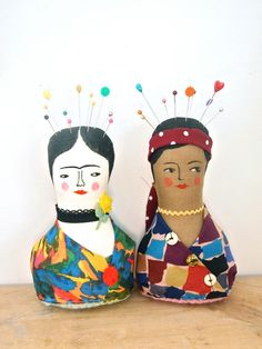 Soft sculpture display doll primitive folk pincushion head and shoulders bust
