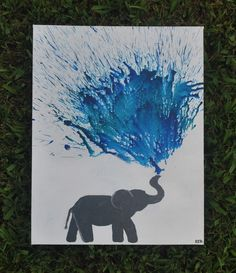 Handmade Elephant Melted Crayon Art Canvas by perkypaintings on Etsy
