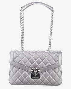 Love Moschino Geantă argintie cu aspect matlasat Moschino, Chanel, Shoulder Bag, Classic, Bags, Purses, Shoulder Bags, Taschen, Totes