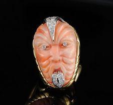 REMARKABLE GOOD WISHING CORAL DIAMOND MAORI MASK HUGE VTG RING