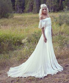 Boho Beach Wedding Dresses Off Shoulder Long Chiffon Lace Bridal Gowns Plus Size