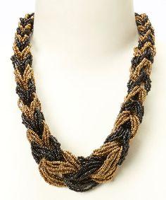 Loving this Gold & Black Roper Necklace on #zulily! #zulilyfinds