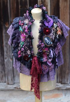 RESERVED--installment- Night garden,  baroque shrug-  artful ornate mysterious shrug  with vintage silk appliques, hand beading, embroidery