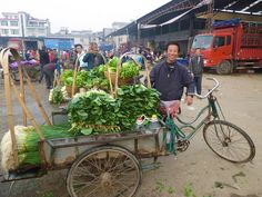 Farmer selling vegetables off bicycle drawn cart by IFPRI-IMAGES, via Flickr