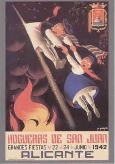 Cartel de Hogueras del año 1942 Alicante.