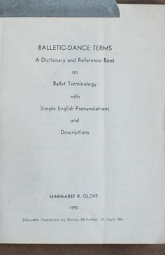 Balletic Dance Terms Terminology Reference by on Etsy Dance Terminology, Dance Terms, Candle Lighting, Reference Book, Dance Class, Bat Mitzvah, Magazine Covers, Books, Etsy