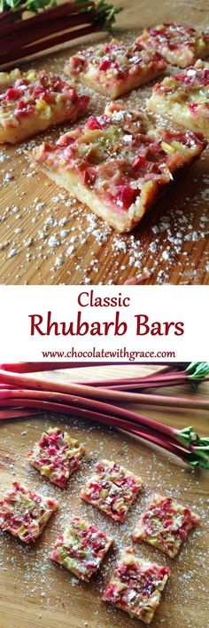 Rhubarb Bars - shortbread crust and tangy rhubarb topping.