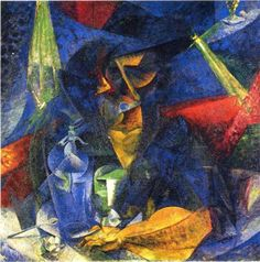 Woman in a Café: Compenetrations of Lights and Planes - Umberto Boccioni 1912