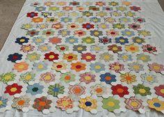 more hexy love flower quilt
