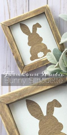 Happy Easter on The Farm! #ad Farmhouse Rustic Bunny Silhouette. So cute! Perfect for your Easter and Spring decor. #farmhouse #rustic #bunny #easter #farmhousedecor #homedecor #spring