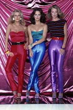 Charlie's Angels 1979 - Cheryl Ladd, Jaclyn Smith Shelley Hack Pinning for the disco pants! Moda Disco, Disco 70s, 1970s Disco Fashion, 70s Disco Outfit, Disco Outfits, 80s Fashion Party, Disco Pants Outfit, Rave Outfits, Cheryl Ladd