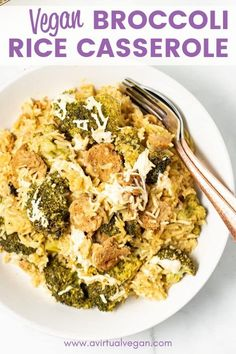 Vegan Broccoli Rice Casserole Easy Vegan Recipes (for beginners) Vegan Dinner Recipes, Vegan Dinners, Vegan Recipes Easy, Vegetarian Recipes, Vegetarian Cooking, Vegetable Recipes, Vegan Casserole, Broccoli Rice Casserole, Broccoli Bake