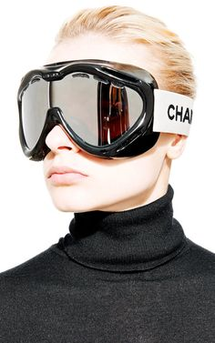 Vintage Chanel Black Ski Goggles From What Goes Around Comes Around by Vintage Chanel for Preorder on Moda Operandi