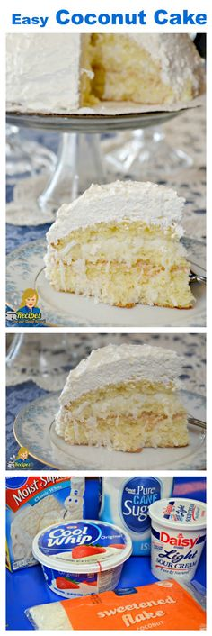 Easy Coconut Cake is made using 5 simple ingredients including cake mix, coconut, sugar, sour cream and whipped topping. It is so simple to make and super delicious. You will not be disappointed in this truly easy and super delicious. cake by jggiddings Kokos Desserts, Coconut Desserts, Coconut Recipes, Köstliche Desserts, Delicious Desserts, Dessert Recipes, Diabetic Desserts, Sour Cream Coconut Cake, Coconut Cake Easy
