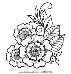 Mehndi flower pattern for Henna drawing and tattoo. Decoration in ethnic oriental, Indian style. Mehndi flower pattern for Henna drawing and tattoo. Decoration in ethnic oriental, Indian style. Henna Patterns Hand, Simple Henna Patterns, Doodle Patterns, Floral Embroidery Patterns, Flower Patterns, Embroidery Designs, Henna Tattoo Designs, Flower Tattoo Designs, Mehndi Designs