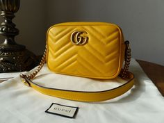 0b4a330e031a Gucci GG Marmont Matelassé Camera Bag in Marigold Yellow Calfskin - SOLD