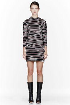 3.1 PHILLIP LIM Dark taupe & black beaded collar Zebra print dress
