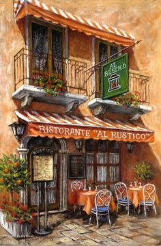 Images Victoriennes, Italian Cafe, Cafe Art, Urban Sketching, Beautiful Paintings, Oeuvre D'art, Painting Inspiration, Amazing Art, Landscape Paintings