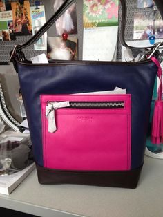 Blue and pink duffle
