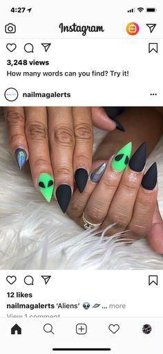 Alien Nails, Paws And Claws, Pretty Nail Art, Nail Inspo, Girly Things, Girly Stuff, Nails Inspiration, Hair And Nails, Acrylic Nails