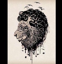 Lion tattoo idea. Love it