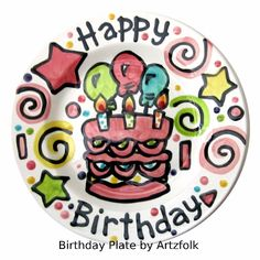Beautiful colorful Handmade party cake time ceramic plate designed by ©Artzfolk personalized with name or saying Dimensions: 7 or 10 size available This piece is original art pottery and design by licensed tabletop designer N. Pottery Painting Designs, Paint Designs, Pottery Art, 7th Birthday Cakes, Birthday Plate, 2nd Birthday, Birthday Ideas, Happy Birthday, Icing Colors