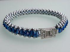 NEW!  BLUEteeful beaded bracelet at etsy.com/shop/Dajamana Sterling Silver & Blue Swarovski Crystal Tennis Bead by Dajamana, $75.00