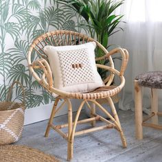 This macrame cushion is a must have for the perfect neutral cushion collection. With just the right amount of texture, it's made with natural cotton rope, wooden beads, and a natural calico cover. Neutral Cushions, Plain Cushions, Dark Wood Floors, Cushion Inserts, Macrame Projects, Soft Furnishings, Interior Decorating, Chair, Cotton Rope