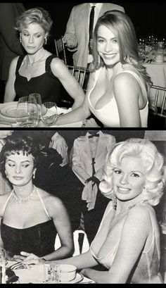 Julie Bowen and Sofia Vergara re-enact the iconic Sophia Loren and Jayne Mansfield photograph taken by Delmar Watson in 1957.