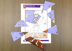 Put the skeleton back together with this easy Halloween Skeleton puzzle for kids from Super Simple Learning. #kindergarten #earlyelementary #ESL