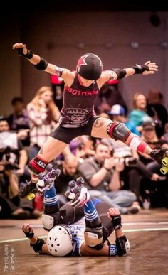 Bonnie airborne. WFTDA Champs St Paul, November 7, 2015. Gotham Girls Roller Derby vs Victorian Roller Derby League
