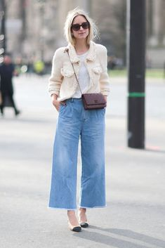 24693d4ab87b Denim culottes are perfectly styled for the office with a tucked-in shirt  and a