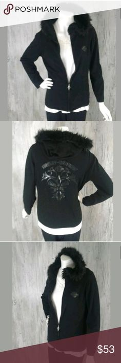 """Harley-Davidson Womens Jacket  L Full Zip Faux Fur Harley Davidson Womens Jacket  L Full Zip Faux Fur * Pictures do not do this jacket justice NICE!  * Gently Owned ~ Great Condition  * Chest  19.5"""" Laying Flat * Sleeve 23"""" * Length 23.5"""" Measurements are approximate,   * Pet Free ~ Smoke Free Environment * Fast Shipping P219r Harley-Davidson Jackets & Coats"""