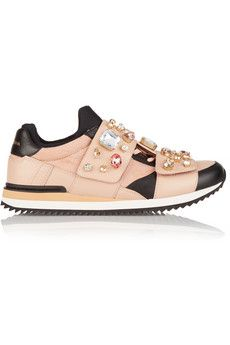 Dolce & Gabbana Embellished leather and canvas sneakers | NET-A-PORTER