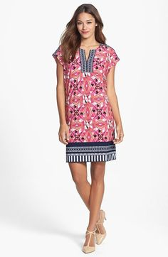 Laundry by Shelli Segal Print Extended Shoulder Shift Dress (Petite) available at #Nordstrom