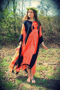 African Caftan Dashiki Dress Rayon Black and by WonderlandRevival, $55.00