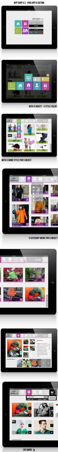 App Shop v.3 - Ipad App UI Retina / $5  Thanks for watching.  #ui #app #shop