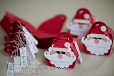 Curvy Keepsake Santa Gift Boxes with Moustache and Punch Art by Mikaela…