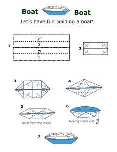 Free Folding Diagram: Canoe Boat Money Origami Instructions.