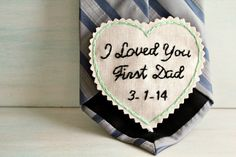 Custom embroidered love note for your first love ~ your Dad. This is sure to be a tear jerker! Give your Dad this hand embroidered love note as a reminder of your love on the big day.  I created this hand embroidery to be a tie patch that is easily hand sewn onto the back of your mans tie, but it can be used in other ways too.  Many brides also attach their patches to Jackets & Vests or add a something blue to the inside of their own wedding gown. I have even created patches for bridesmai...