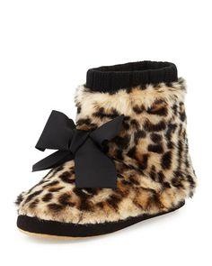X2GE9 kate spade new york Fabian Faux-Fur Bootie Slipper, Leopard