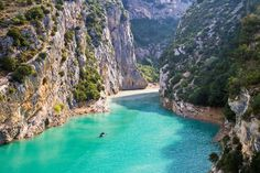 VERDON GORGE You will never see water as blue as the water in this river canyon located in the south of France.
