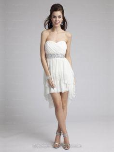 A-line Sweetheart Chiffon Asymmetrical White Beading Homecoming Dresses