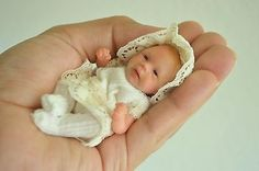 OOAK Baby , Polymer Clay Hand Sculpted Art Doll 3.5 inches by Wendy Valles