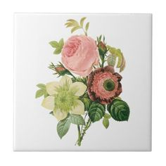 Vintage Flowers, Anemone Roses Clematis by Redoute Small Square ...