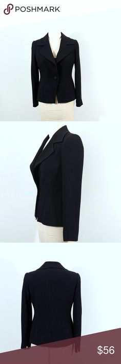 """Linda Allard Ellen Tracy Black Jacket Up for sale in great preowned condition Linda Allard Ellen Tracy Black Jacket, Size 4.   Check out my closet, bundle and give me your offer!  Measurements: Bust Area: 16"""" Top to Bottom: 23"""" Sleeves: 16.5""""  All Measurements are approximate and taken flat in the front only. Linda Allard Ellen Tracy Jackets & Coats"""