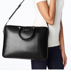 $ 229 Kate Spade Briefcase Laptop Handbag Wellesley Tanner Bag Black Leather New NWT #katespade #MessengerCrossBody