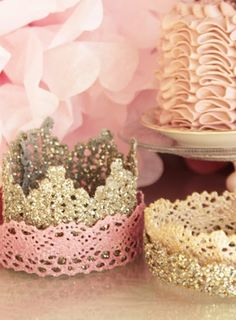 Crowns .. Fabric stiffener n lace and glitter !! Little girl party idea