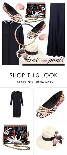 """""""dress over pants and granny flats"""" by paculi ❤ liked on Polyvore featuring Roger Vivier, Maison Michel, NARS Cosmetics, floral, flats and cluthes"""