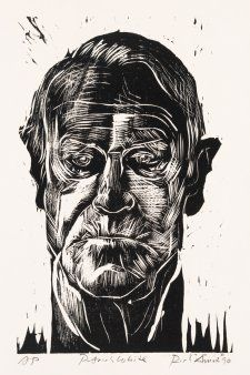 Patrick White, aged 78 in 1990 by Rick Amor. woodcut on paper (sheet: x cm, image: x cm). White was a novelist and playwright,and is the only Australian author to have won the Nobel Prize for Literature (in Australian Authors, Australian Art, Female Protagonist, Eye Of The Storm, Playwright, North Africa, Printmaking, Literature, Nobel Prize